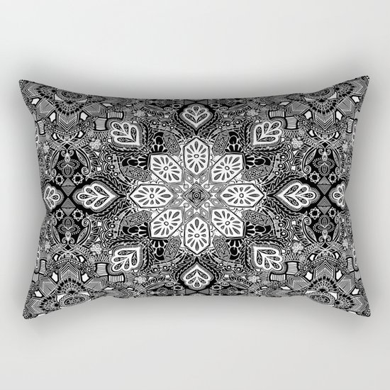 Gypsy Lace in White on Black Rectangular Pillow