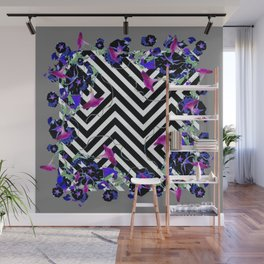 Geometric  black-White Morning Glories Grey Pattern Garden  Art Wall Mural