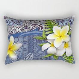 Blue Hawaiian Tapa and Plumeria Rectangular Pillow