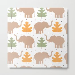 cute pattern background illustration with elephants and tropical exotic leaves Metal Print