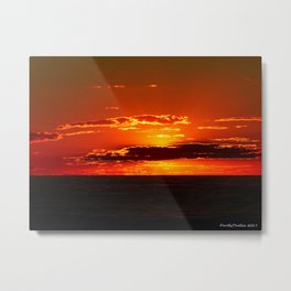 Sunset with Silver lined Clouds Metal Print