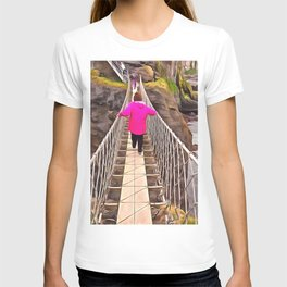Carrick-a-rede rope bridge, Ireland. (Painting) T-shirt