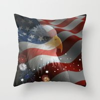 patriots Throw Pillows featuring Patriotic America by Barrier Style & Design