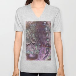 Shimmery Lavender Abalone Mother of Pearl Unisex V-Neck