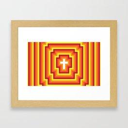 Technicolour Cross - Orange Framed Art Print