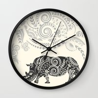 rhino Wall Clocks featuring Rhino by famenxt
