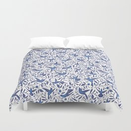 Delft Blue Humming Birds & Leaves Pattern Duvet Cover