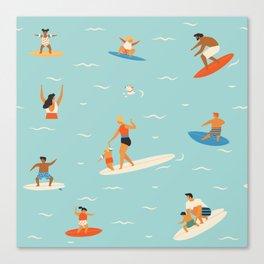 Surfing kids Canvas Print