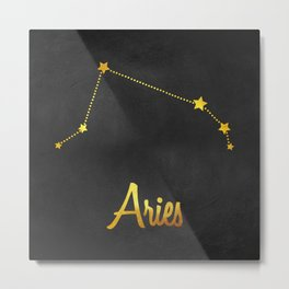 Aries Constellation in gold Metal Print