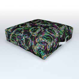 Gamer Colors on Black Outdoor Floor Cushion