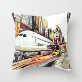 Flight in Times Square Throw Pillow