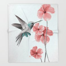 Hummingbird with Hibiscus Throw Blanket