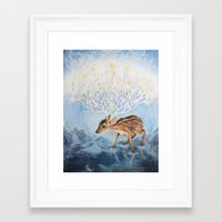 antlers Framed Art Prints featuring Antlers by Lucy Yu { Artwork }