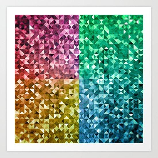 RGBY Triangle Grunge Art Print