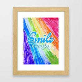Smile Everyday, Crayon Colors, Kids Crayon, color splash, blue version Framed Art Print