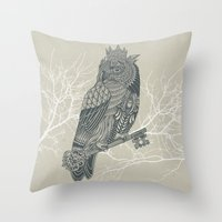 king Throw Pillows featuring Owl King by Rachel Caldwell