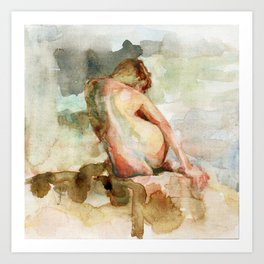 Watercolour Nude Woman Figure Expressive Colourful Painting of Female Art Print