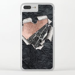 Modern Torn Paper Heart and Rose Gold Marble Clear iPhone Case