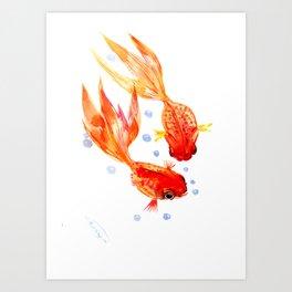 Goldfish Nursery Illustration Feng Shui Two Fish Art Art Print