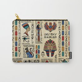 Egyptian hieroglyphs and deities on papyrus Carry-All Pouch