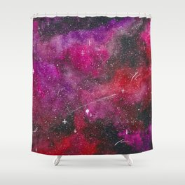 Deep pink, purple, and red galaxy Shower Curtain