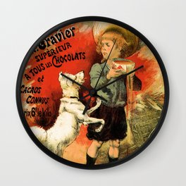 Vintage French hot chocolate advert, boy, white dog Wall Clock