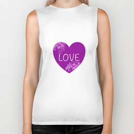 Heart Love violet with Flowers Illustration Biker Tank
