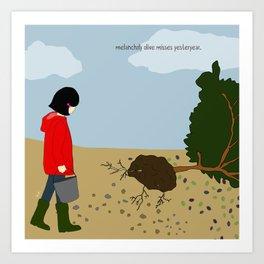 melancholy olive misses yesteryear. Art Print
