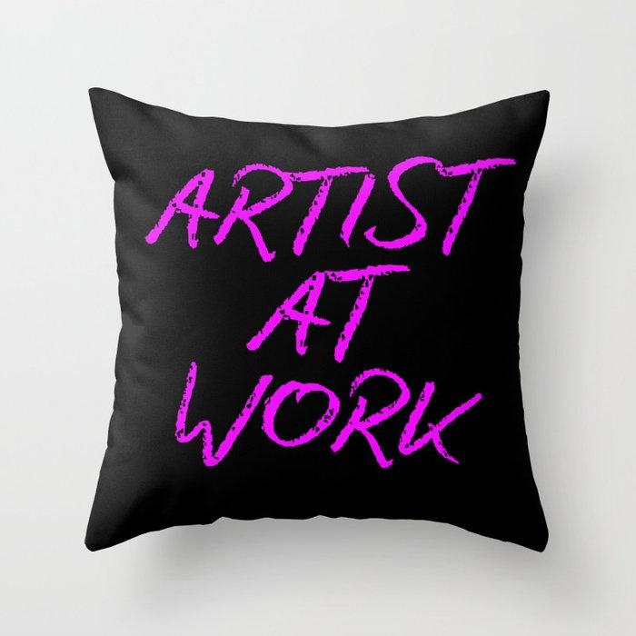 Artist at Work (pink) Throw Pillow