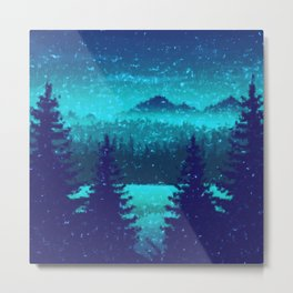 Pine forest in blue Metal Print