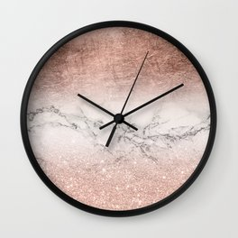 Modern faux rose gold glitter and foil ombre gradient on white marble color block Wall Clock