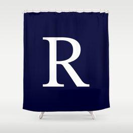 Navy Blue Basic Monogram R Shower Curtain