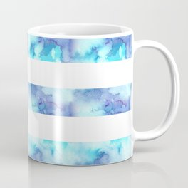 Blue & Purple Watercolor Stripes Coffee Mug