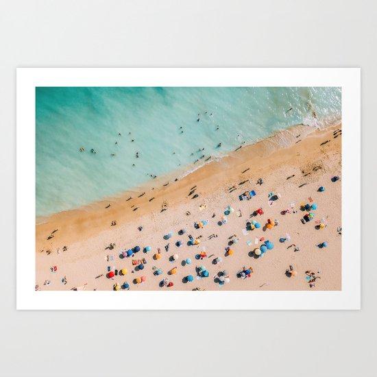 People On Algarve Beach In Portugal, Drone Photography, Aerial Photo, Ocean Wall Art Print by radub85