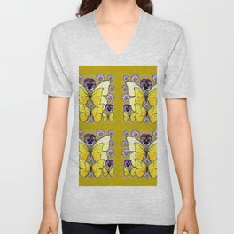 INK DRAWING PURPLE PANSY FLOWERS & YELLOW BUTTERFLIES Unisex V-Neck