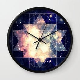 Galaxy Sacred Geometry: Golden Rhombic Hexecontahedron Wall Clock