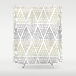 Stacked Triangles - Neutral Shower Curtain