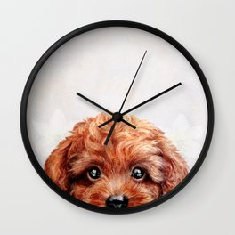 Toy poodle-reddish brown Wall Clock
