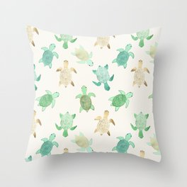 Gilded Jade & Mint Turtles Throw Pillow