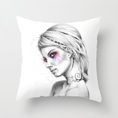 Beautiful Girl with Tattoos and Colorful Eyes Throw Pillow