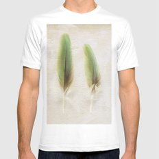 Green Feathers White MEDIUM Mens Fitted Tee
