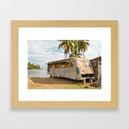 Playa Larga Bus Cuba Beach Hobo House Landscape Tropical Island Home Caribbean Sea Framed Art Print