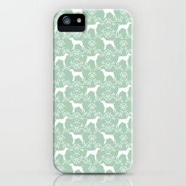 German Shorthair Pointer dog breed floral silhouette mint and white dogs pattern gifts iPhone Case