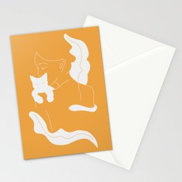 Girl, White Cat, Plants / Line Art in Sunny Yellow Stationery Cards