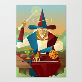 magician juggler with cup, wooden staff, sword and gold tarot card Canvas Print