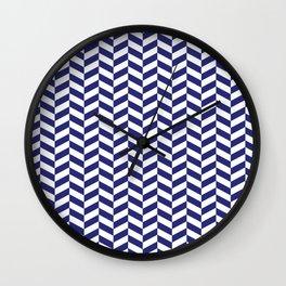 Navy Blue Herringbone Pattern Wall Clock