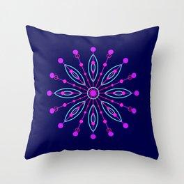 Space Flower Blue Throw Pillow