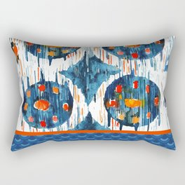 BLUE CIRCLES IKAT Rectangular Pillow