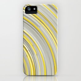 Glowing yellow concentric spirals on white iPhone Case