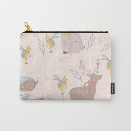 Christmas Deer and Bird Carry-All Pouch